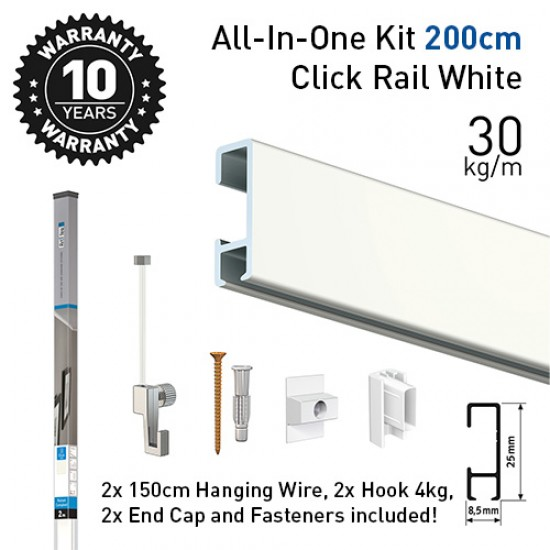 Artiteq 9.5621 Click Rail white 200cm economy set including picture hanging rail, 2 hanging cords, 2 hooks and all fasteners