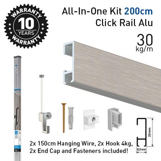 Artiteq Click Rail Alu ALL-IN-ONE Kit 200cm
