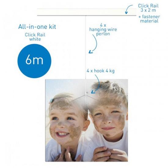 Artiteq Click Rail White Primer ALL-IN-ONE Kit 600cm