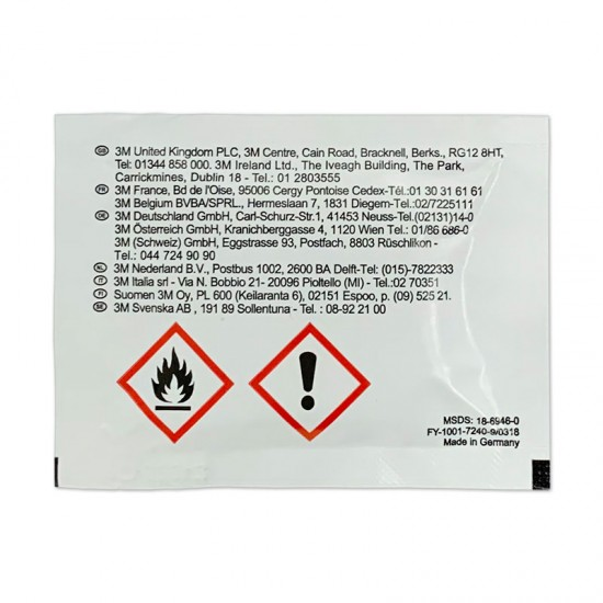 05.16055 Surface Cleaner Sachet contains 1 tissue to clean and degrease surfaces proir the use of 3M VHB tape