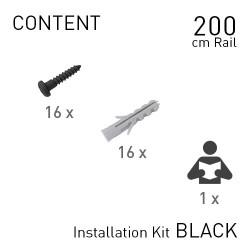 Fastener Kit Top Rail 200cm Black