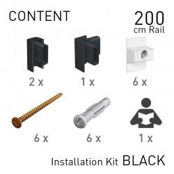 Fastener Kit Click Rail 200cm Black