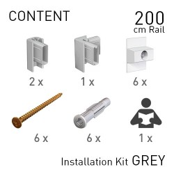 Fastener Kit Click Rail 200cm Grey