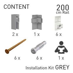 Fastener Kit Click Rail Pro 200cm Grey