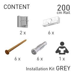 Fastener Kit Contour Rail 200cm Grey