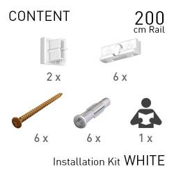 Fastener Kit Contour Rail 200cm White