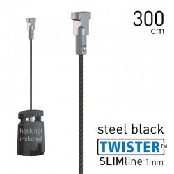 Twister Slimline 1mm Black Steel 300cm