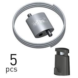 Loop Hanger + Steel Cable & Micro Grip Slimline Set - 5pcs